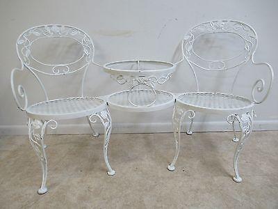 Vintage Woodard Tete A Tete Metal Outdoor Patio Porch Chair Table
