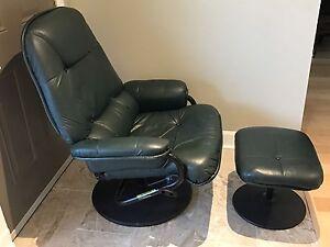 Pallister leather reclining chair and ottoman London Ontario image 5