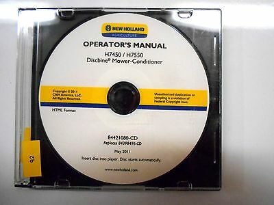 New Holland H7450 H7550 Discbine Mower Conditioner Operators Owners Manual Cd