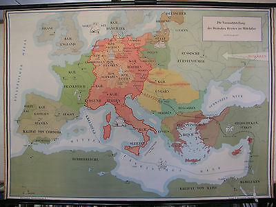 Schulwandkarte German Reich Hauptmacht Abendlandes Mittelalter Knight 139x98