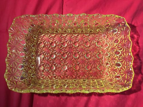 Antique EAPG Pattern Glass Daisy & Button Canary Vaseline Bowl Unusual Shape
