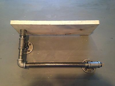 "16"" Industrial Iron Pipe Shelf plus Towel Rack (Pick your own stain) for sale  Shipping to India"