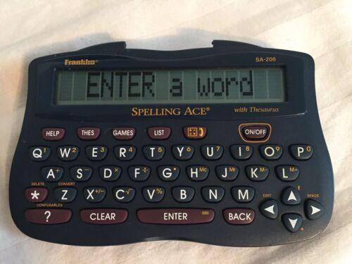 Franklin Spelling Ace Plus Thesaurus Model SA-206 Plus. Hand held. Word helps