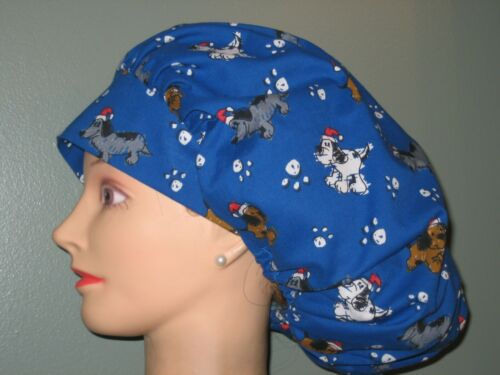 Surgical Scrub Hats/Caps Christmas Puppies in Santa Hats   Blue