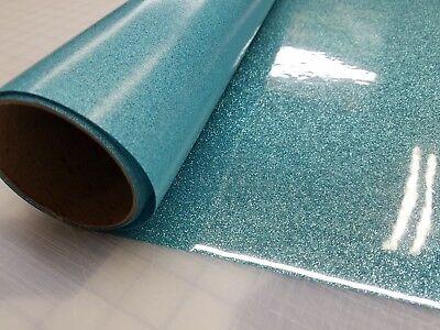 12 X 20 Maui Blue Glitter Heat Transfer Vinyl Cricut Iron On - T Shirt Cheer