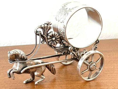 ANTIQUE VICTORIAN Quadruple Silverplate HORSE CART 213 NAPKIN RING Rogers Smith