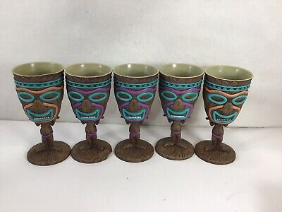 Tiki Cup Mug Plastic Hawaiian Luau Party Barware Brown Purple Orange Set Of -