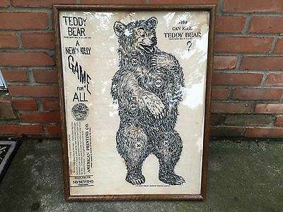 Vintage TEDDY BEAR GAME 1906 Cloth Linen PRESIDENT ROOSEVELT Campaign CAN KILL
