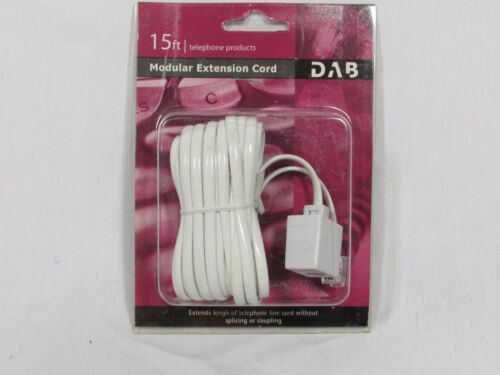PHONE LINE COUPLING 15 Ft Phone Telephone Extension Cord Cable WHITE New FEMALE