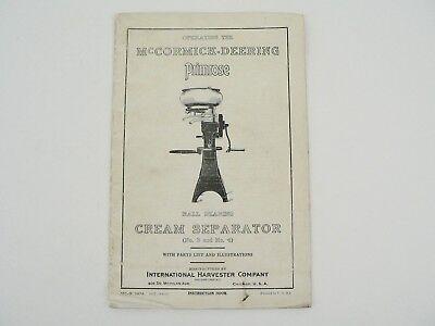 Vtg Mccormick Deering Primrose Cream Separator Owners Manual W Parts List 1927