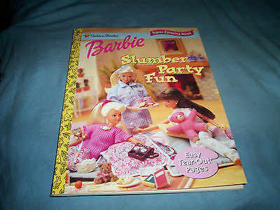 New 1997 Golden Books Barbie Doll Slumber Party Fun Coloring Book