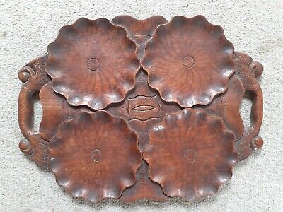 Antique Mahogany Hardwood Hand Carved Oyster Scallop Tray