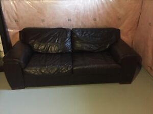 Chocolate Brown Italian Leather Full Sofas  2 available