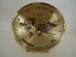 Rare Kienzle World Time Zone Brass Desk Clock Germany Quartz