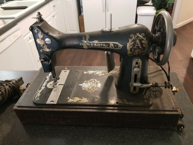 Antique Minnesota Model A Sewing Machine with Case