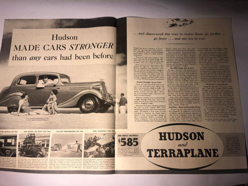 "1935 Hudson Terraplane ORIGINAL 2-PAGE CENTERFOLD 20x13"" AD - Great Garage Decor"