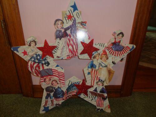 NEW Bethany Lowe Large Americana Star Die Cut Wreath RL6573 4th of July