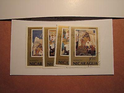 Nicaragua Stamp Scott# 1671-74 Christmas Paintings 1987 P10