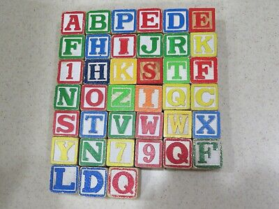 "39 Vintage Wooden Childrens Building Blocks Alphabet Numbers ABCs 1.25"" Sq A4236"