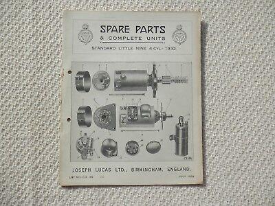 STANDARD LITTLE NINE 9 1932 LUCAS Parts List published July1932