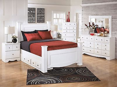 NEW Modern White 5 piece Bedroom Set Furniture w/ Queen Poster Storage Bed IA14