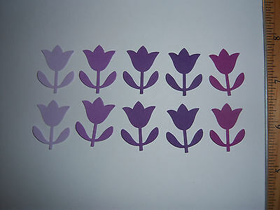 80 Martha Stewart Tulip Paper Die Cut Punches in Purples great for Easter / Baby