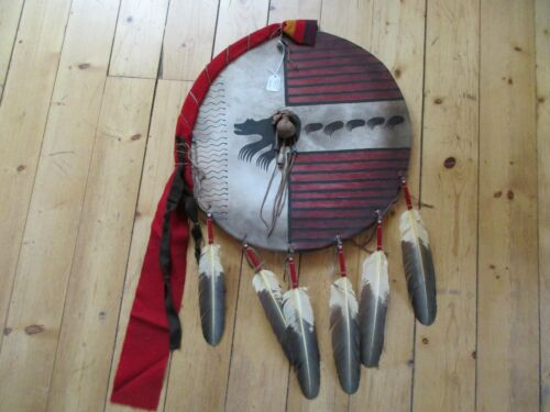 """NATIVE AMERICAN CEREMONIAL LEATHER SHIELD, 21"""" PAINTED """"BEAR CLAN"""" , SD-03701"""