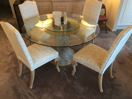 High Quality European Stone Glass Top Table And 4 Chairs RRP 4999