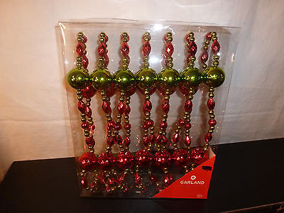12' FOOT HOLIDAY CHRISTMAS TREE GARLAND~RED & GREEN~PLASTIC BEAD~NEW