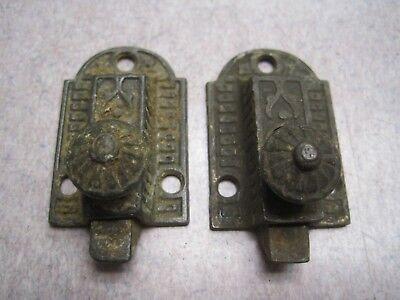 2 ANTIQUE EASTLAKE SLIDE HANDLE CABINET DOOR LATCH LOCK CASTIRON  1 3/8 X 2