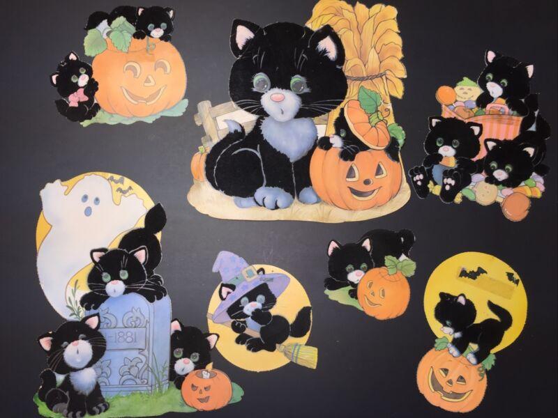 Lot of 7 Vintage Flocked BLACK CAT Halloween Decorations Kitten Velvet Die Cuts