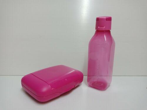 Tupperware Lunch Set of 2 : Slim keeper & 500ml/16-oz bottle Pink New Free Ship