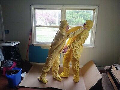 Dupont Tyvek Hazmat Coverall Suit W Seamless Boots 2xl Xx-large Yellow