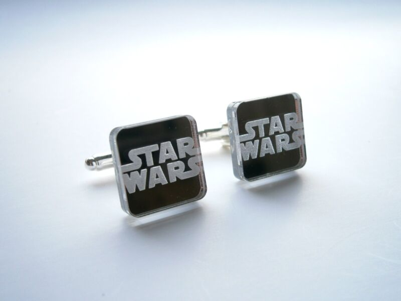 Star wars Cufflinks, Engraved and Lasercut Star Wars Jewelry mirror border