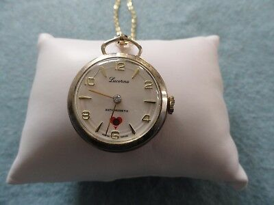 Swiss Made Lucerne Wind Up Mechanical Necklace Pendant Watch - Not Working
