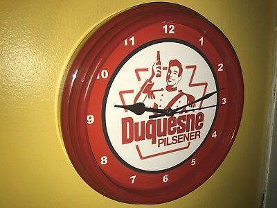 - Duquesne Duke Pilsener Beer Bar Advertising Man Cave Red Wall Clock Sign