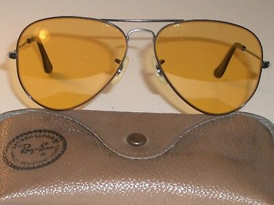 58MM VINTAGE B&L RAY BAN BLACK CHROME  ALL-WEATHER AMBERMATIC AVIATOR SUNGLASSES