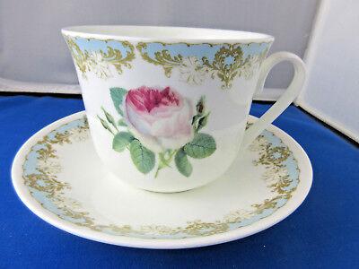 Rose Breakfast Cup - VINTAGE ROSE  BREAKFAST CUP SAUCER KIRKHAM Fine Bone China. ENGLAND Roy Kirkham