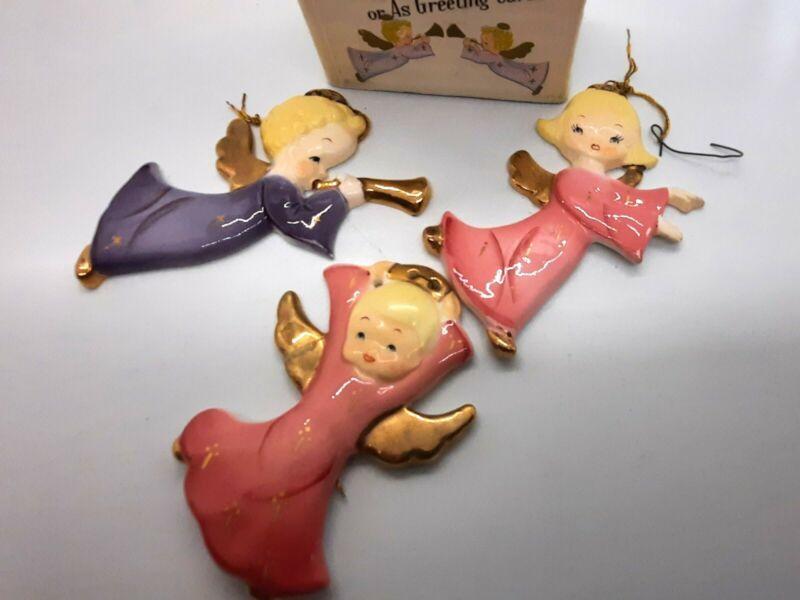 Three Vintage porcelain Yona Angels ornaments or wall hangings in original box