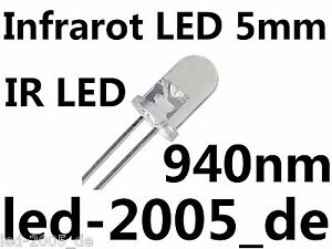 10 x IR LED 5mm, 940nm, 1.5V, 20mA, Diode Infarot Rund 5mm, IR Diode Ir Infrared
