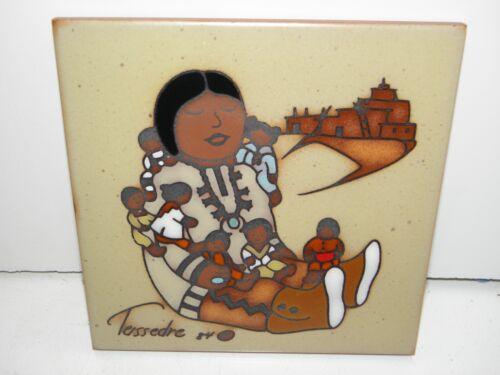 1984 Cleo Teissedre 6x6 Art Tile Ceramic Trivet StoryTeller Doll Singing Mother