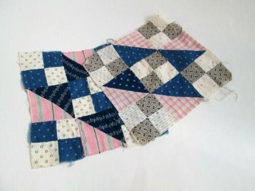Primitive Antique Quilt Blocks Cotton Blue White Pink Bow Tie Four Square Lot 2
