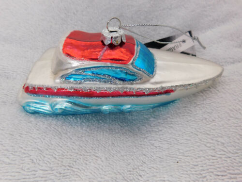 Yacht Speed Boat Red Blue Blown Glass Christmas Tree Ornament Robert Stanley New