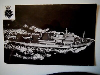 R F A Engadine Helicopter Support Ship Old Postcard Gale Polden Real Photograph