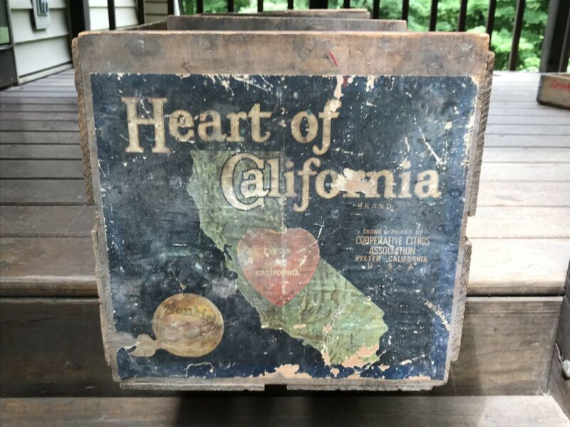 Vintage Antique Sunkist Oranges Wood Crate  Wooden Box Heart Of California USA