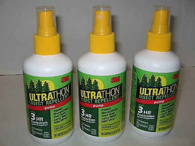 - 3M Ultrathon Insect Mosquito Repellent Pump Up To 3 Hr 6 oz Lot of 3 New