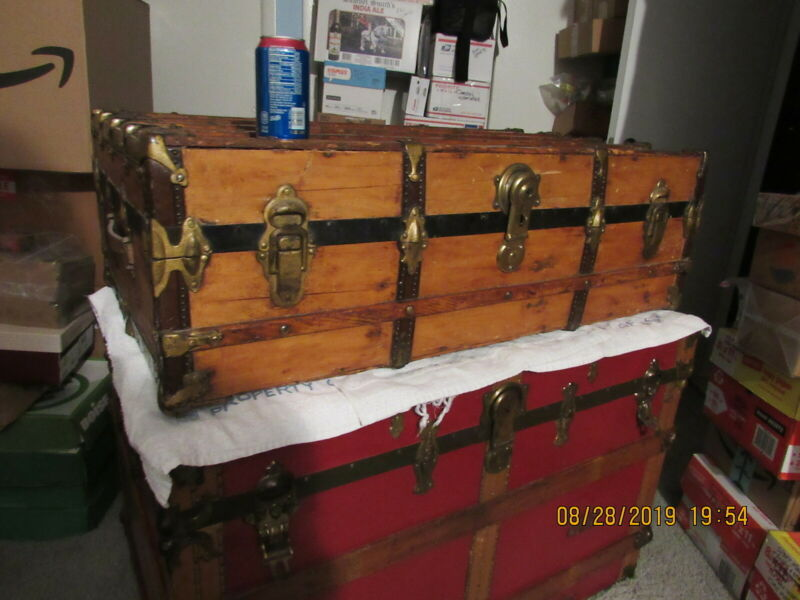 ANTIQUE WOOD STEAMER TRUNK -CHEST MAYBE 1890