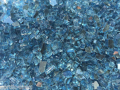 "REFLECTIVE AQUA BLUE 3/8"" - 1/2"" FIREGLASS Fireplace Glass F"