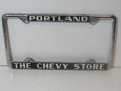 Rare Portland The Chevy Store License Plate Frame Embossed Holder Tag (Frame Store Portland)