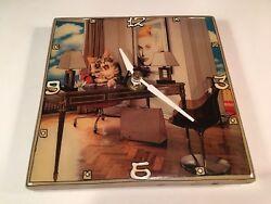 Lea Alboher Digital Collage Modern Ceramic Tile Art Wall Clock Yawning Cat